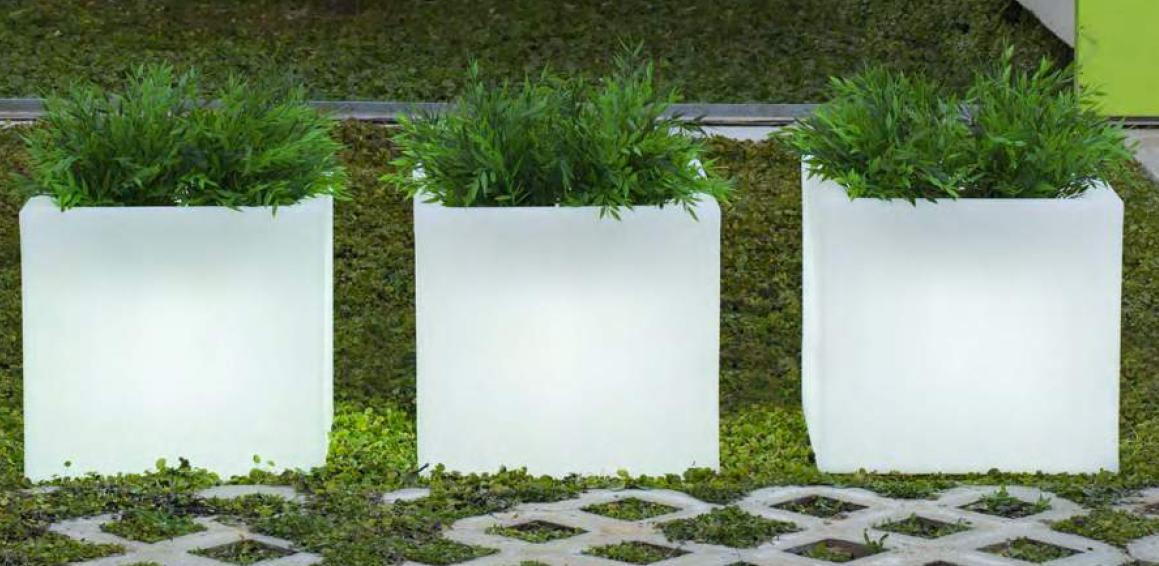 newgarden narciso 50 kubus 49xh45 cm verlichte bloempot