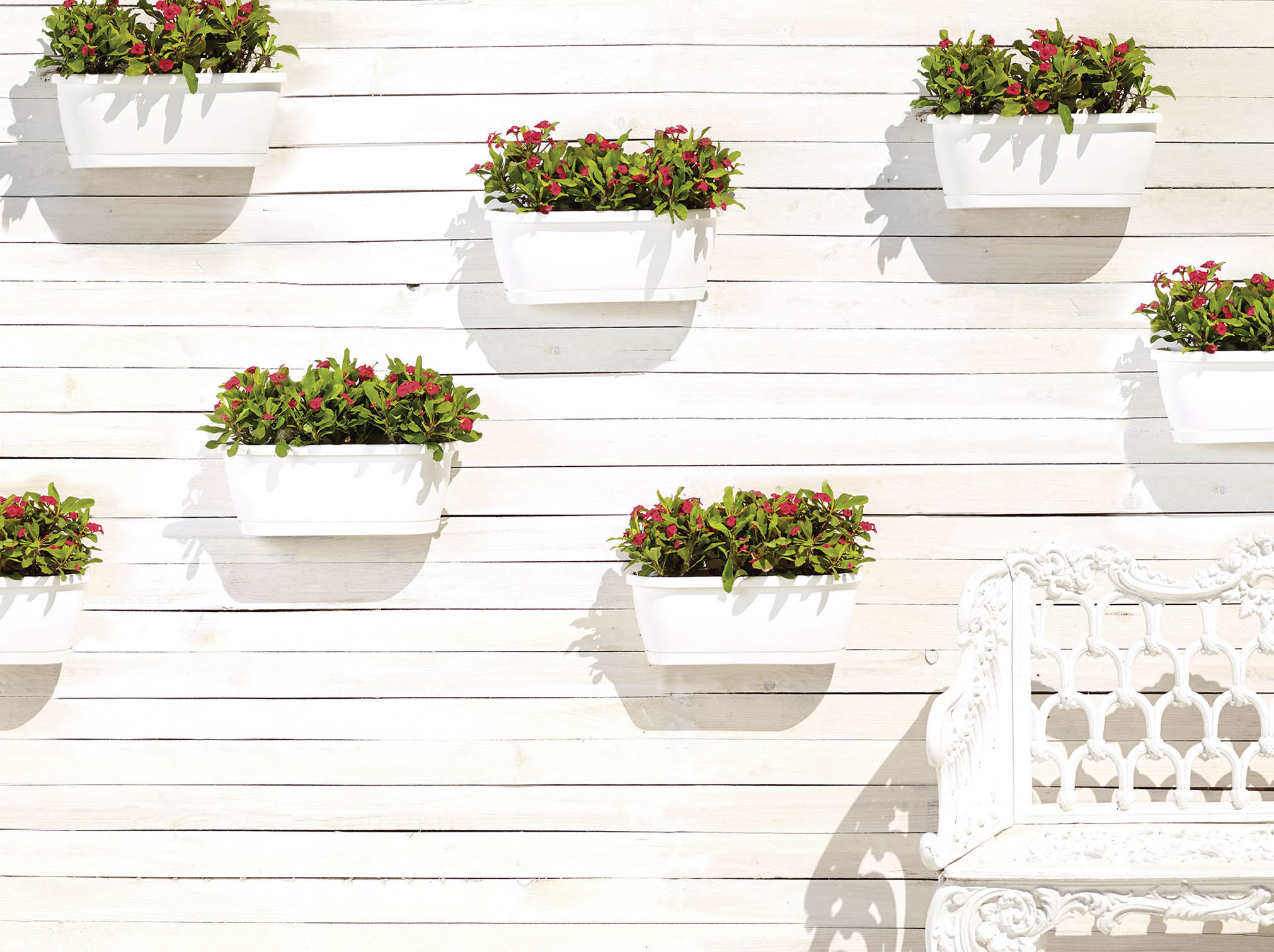 muur bloembak algarve long 38 5x14 5 cm wit