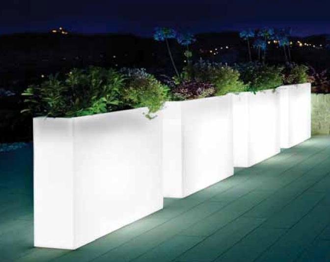 buiten bloempot high terrace 80x25xh70cm wit met verlichting