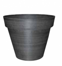 Buiten Bloempot rond 36xh30 Woodstone brushed charcoal