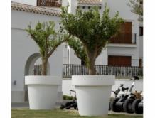 Witte Bloempot Vierkant.Xxl Kunststof Buiten Bloempotten In Trendy Kleuren
